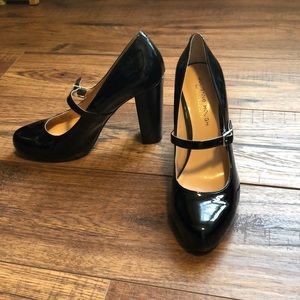 Patent leather high chunky heel Mary Janes.
